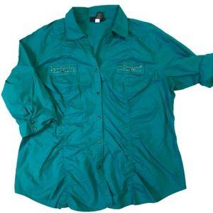 Lane Bryant 3/4 Sleeve Studded Ruched Shirt 22/24